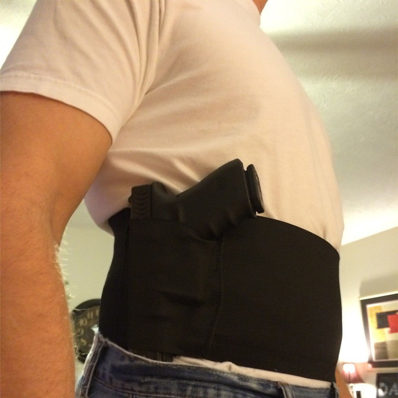 Adjustable Fitness Belly Band Tactical Waist Pistol Holster With 2 MAG POUCHES Tactical Gun Holster