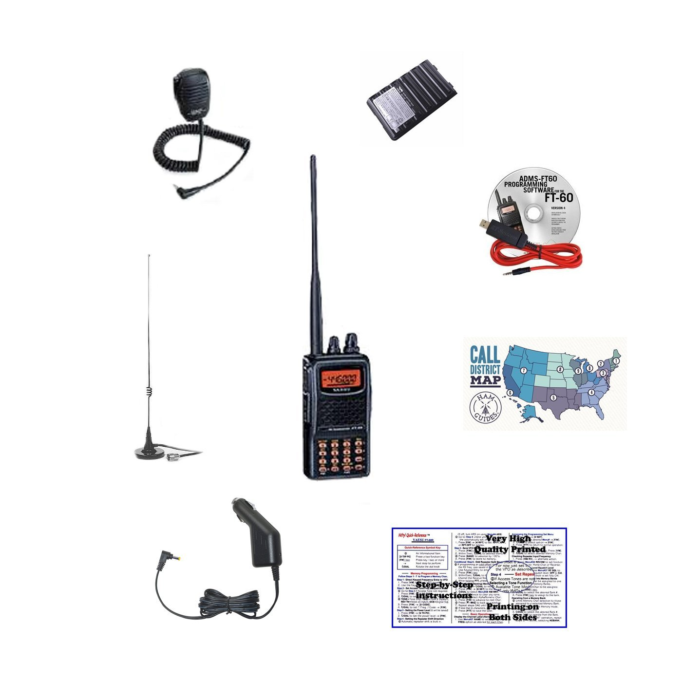 Yaesu FT-60R Handheld Radio /& Nifty Quick Reference Tri-Fold Guide Bundle!