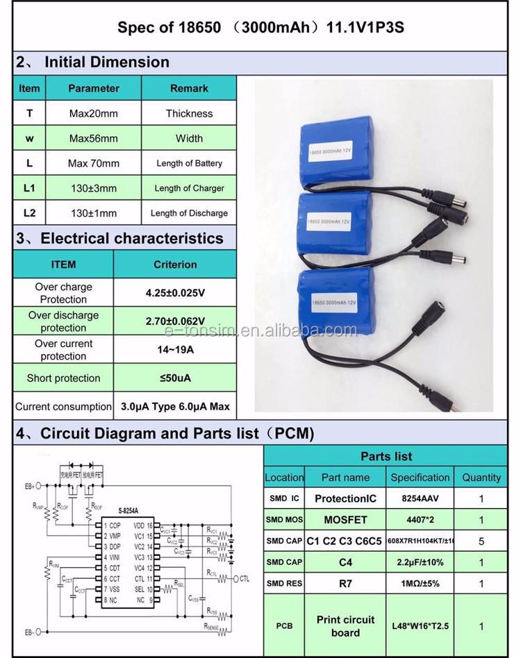 CE/RoHS/UN38 3/MSDS 18650 li-ion 3000mah battery fo Power tools, View lipo  battery 18650 3000mah 11 1v, Tonsim Product Details from Huizhou Tonsim