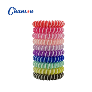 mixed color Stretchy Curly Cord Coil Hair Ties Rubber Telephone Wire spiraling Hair Tie