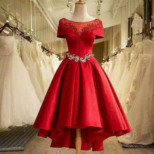 OEM charming cheap wholesale women party formal princess night red beaded satin lady dress