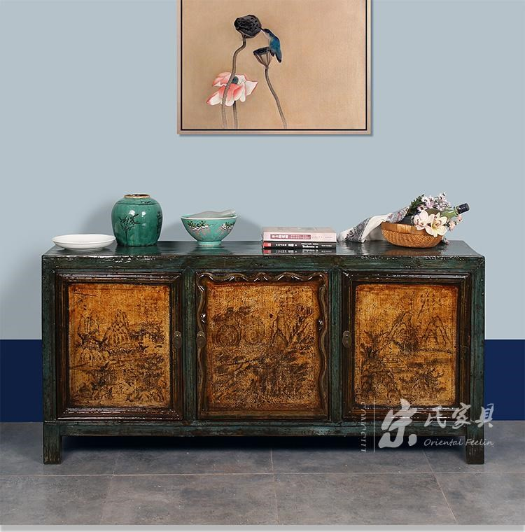 Chinese antique reproduction distressed oriental painted for Oriental reproduction furniture