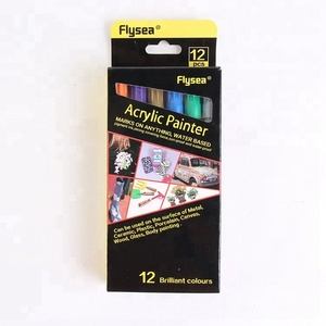 Flysea 0.5mm Extra Fine Point 12 Colors Water Based Rock Painting Ceramic Acrylic Paint Pens