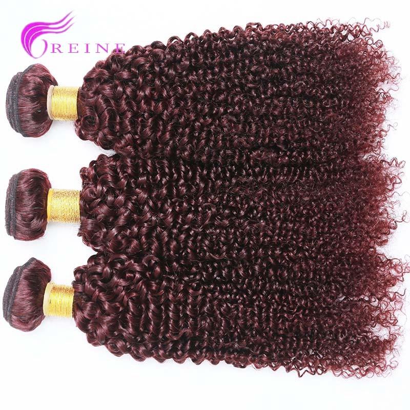 Color 99j Cheap Burgundy Curly Hair Weaving 3pcslot 100 Peruvian