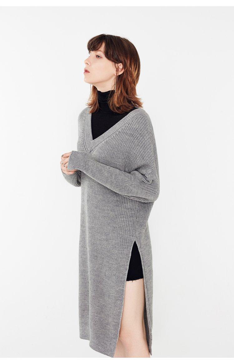 New custom embroidery v neck women long knitwear stylish sweater