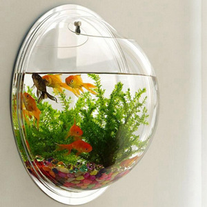 Acrylic Round Wall Mount Fish Bowl Aquarium Tank for Gold Fish and Jelly Fish Plant Vase Home Decoration 15cm Diameter