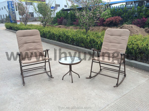 3pcs garden steel padded foldable rocking chair set rockable chair and table set outdoor