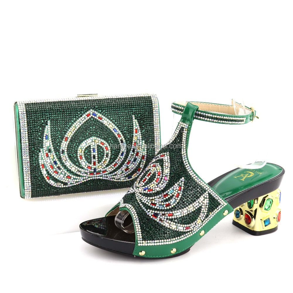 heel and party with beads wedding bag style shoes Italian high sets matching African bag bags Clutch with shoes Lady shoes w6fgIqxgE