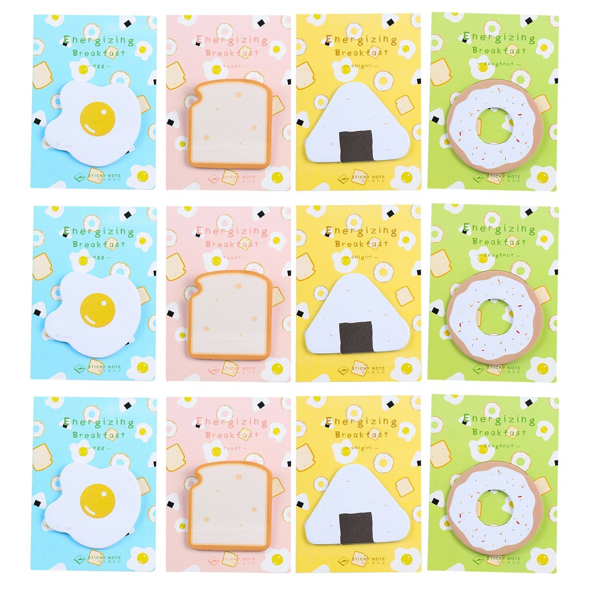 Mily Cute Breakfast Food Shape Sticky Notes Doughnut, Onigiri, Egg, Toast Shape Memo Pad Paper Office Self-Stick Notes, 30 Sheets/Pad, 12 Pack