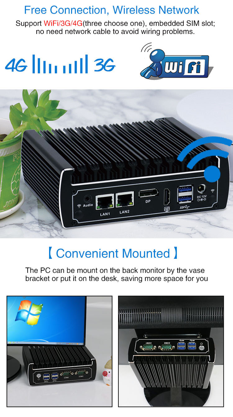 Yanling 2019 derniers ordinateurs de bureau Intel Core i5 7200u double Lan sans ventilateur Mini PC pour Windows 10
