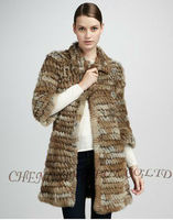 CX-G-A-186 Knitted Rabbit Fur Coats for Woman