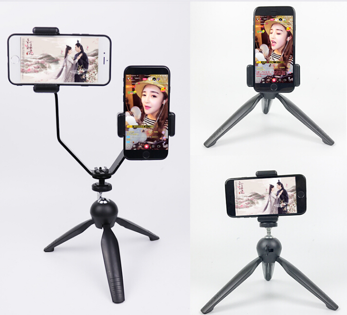 Double callphone live broadcast holder with mini tripod