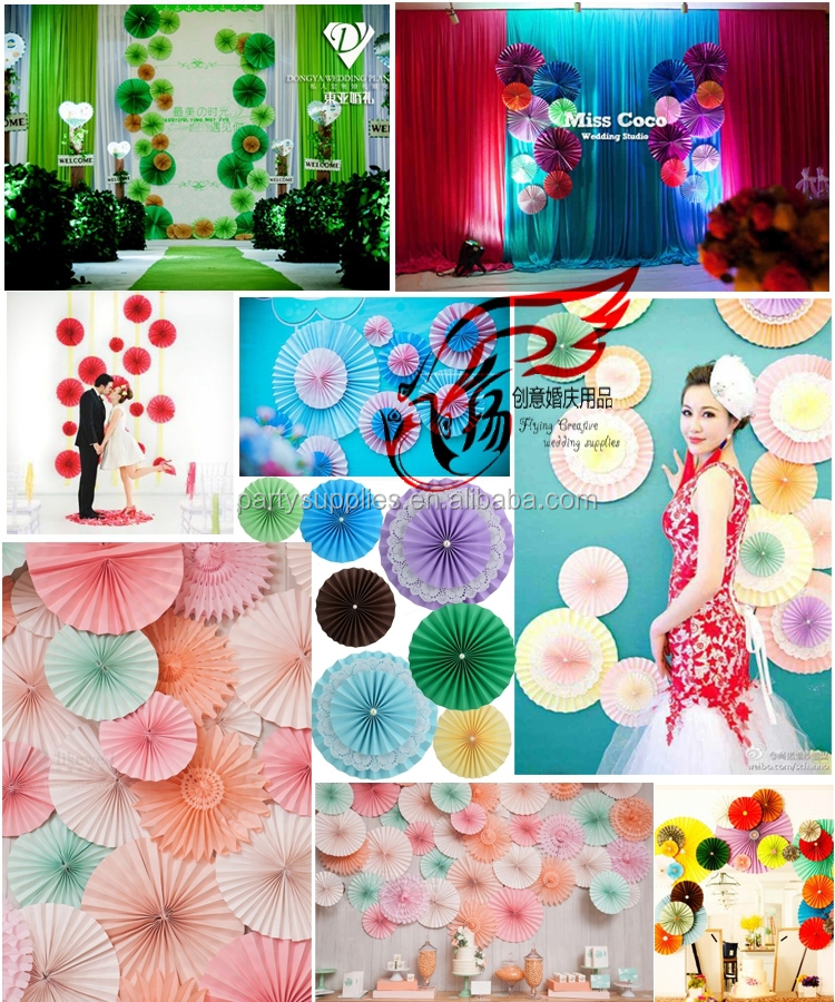 Frozen party backdrop tissue fans and paper rosettes buy for Baby shower stage decoration