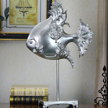 mass production fashionable silver fish table art for home decoration