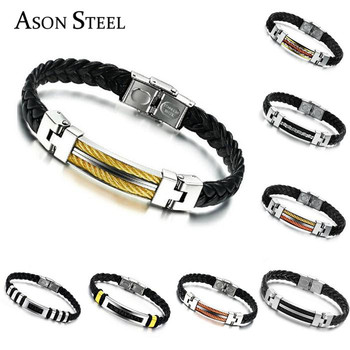 Fashion Stainless Steel Gold Rose Plated Charm On Wrap Cuff Buckle Leather Bracelets Bangles For
