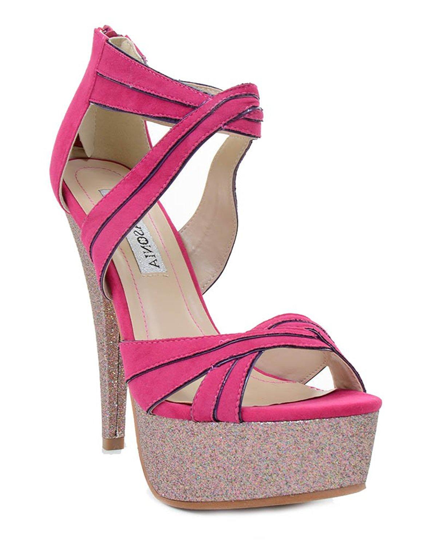 fd21db58d04 Get Quotations · Fourever Funky Criss-Cross Multi Glitter Stiletto Heels  Platform Sandals Fuchsia