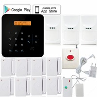 CE approved 868/438 App free download lcd touch keys simple menu intelligent wireless home gsm alarm system