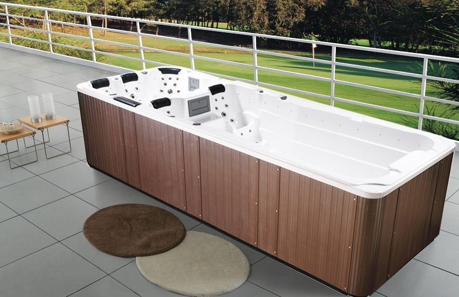Dual zone pool hot tub combo zone swim spa with lounger for Piscina fuori terra 3x2