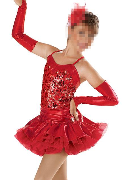 7c0889a0bed0 Buy Child Tap Jazz Ballet Dance Costumes Red Sequin Dance Tutu Dress ...