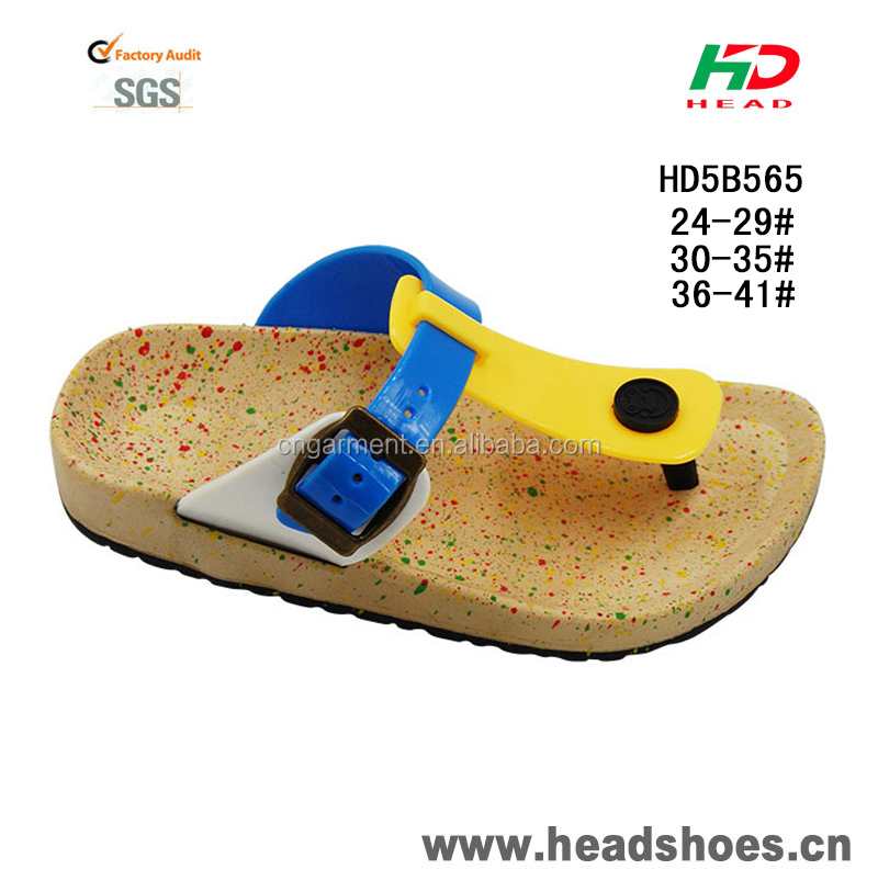2015 new design footwear PCU PVC flat cork sole casual beach slippers