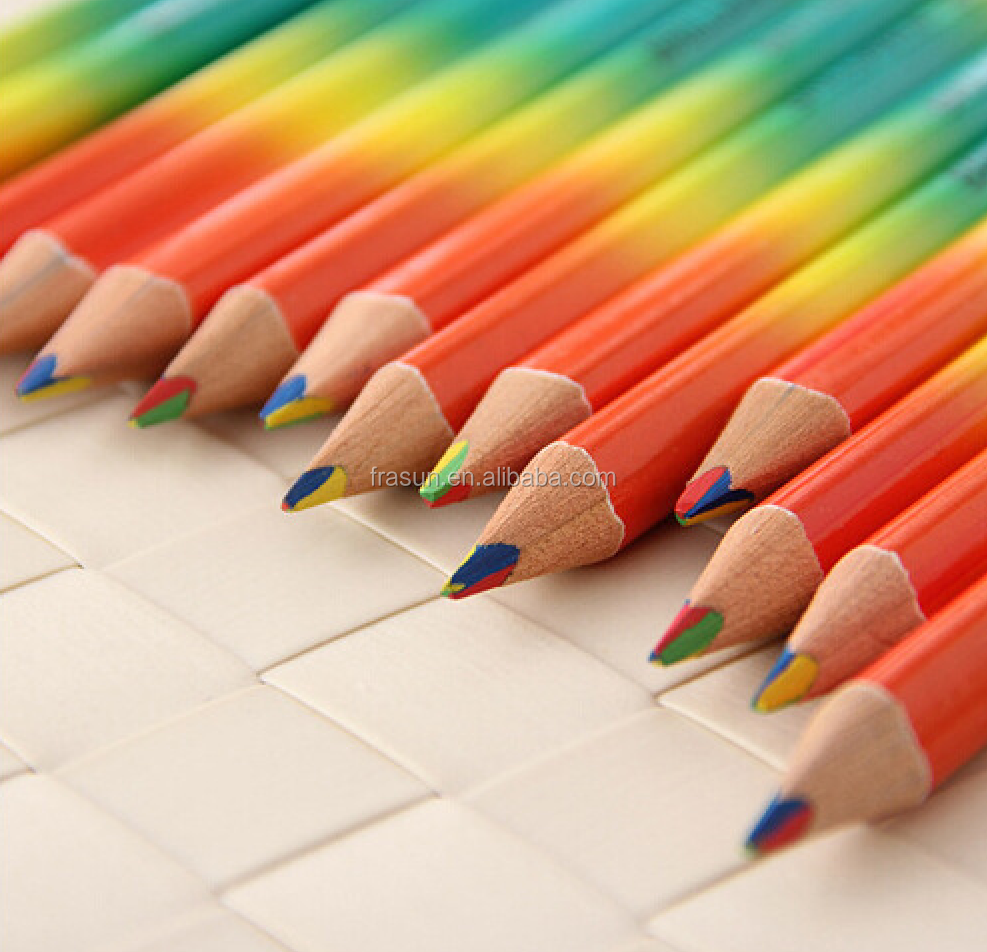 Unique design 4 color in 1 lead pencil rainbow color pencil