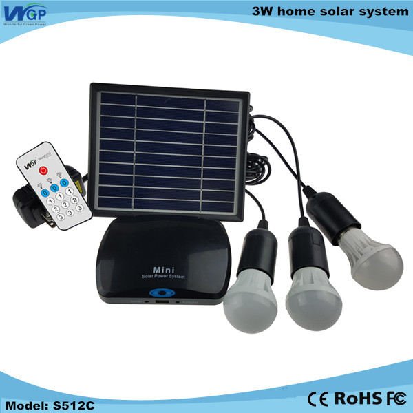 Portable 3W home solar system indoor Light System 3 LED lights USB Phone Charging