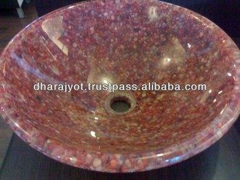 Red Gem Pebble Epoxy Round Counter Top Bathroom Basin - Buy Marble Counter  Top Wash Basin,Under Counter Wash Basin,Shape Bathroom Wash Basins Product