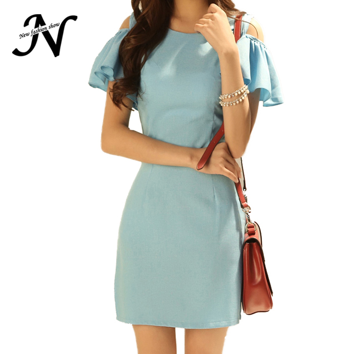 New Korean Version Women Summer Dress Casual Lotus Sleeve Strapless Package Hip Blue Women Bodycon Dress 2015 New Arrival 1759