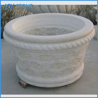 fashionable decorative natural stone granite outdoor round flower pot/planter