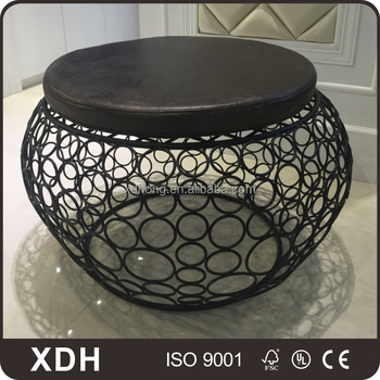 Hot Sale Modern Big Round Chair With Cushion Metal Wire Chair