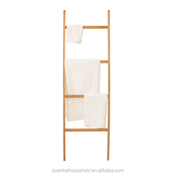 Free Standing Bath Towel Bar Storage Ladder 5 Rungs Bamboo Towel
