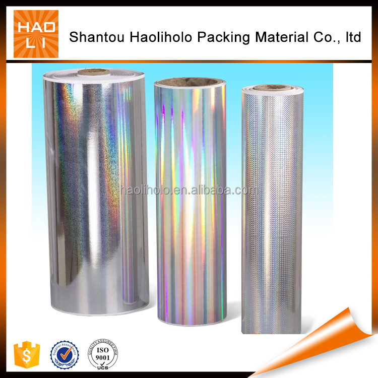 BOPP holographic gift wrapping paper metallized /transparent hologram