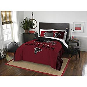 3 Piece NFL Atlanta Falcons Comforter Full Queen Set, Sports Patterned Bedding, Featuring Team Logo, Fan Merchandise, Team Spirit, Football Themed, National Football League, Black, Red, Unisex
