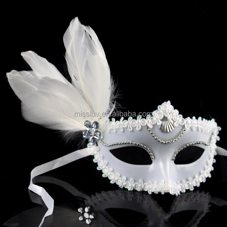 wholesale venetian white masks decorative with feather white masquerade masks