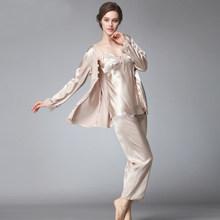 Женский пижамный комплект SSH036, пижама из 3 предметов с треугольным вырезом и длинными рукавами, длинные штаны, осенняя Пижама(Китай)