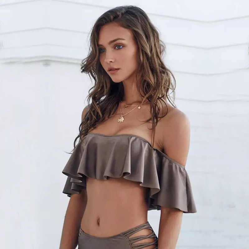 Summer 2 Pieces Beach Hot Spring Bathing Swimwear Sexy Off Shoulder Ruffles Bikini Swimsuit Sets