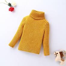 Свитера для девочек; зимняя одежда для маленьких девочек; вязаный свитер с высоким воротником из синели; Универсальный Детский свитер; плат...(Китай)
