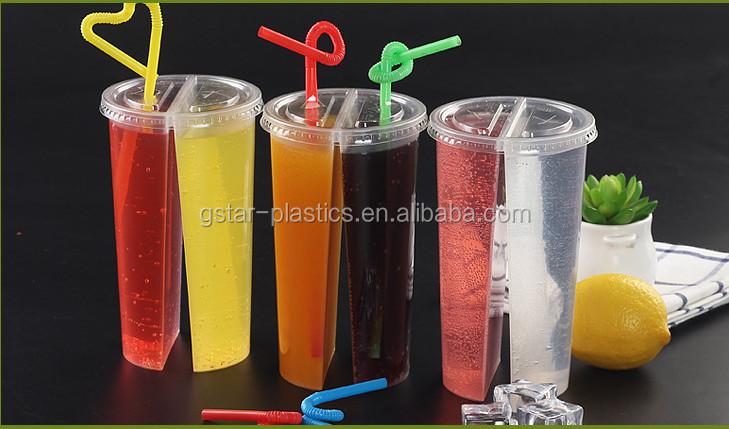 700ml Split Bubble Tea Cups Plastic Split Boba Tea Glass