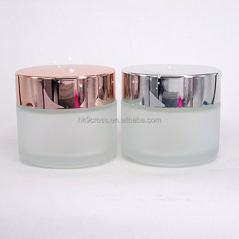 100ml frosted glass jar cosmetic cream jar with rose gold cap