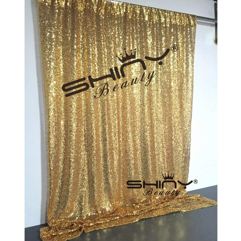 ShinyBeauty Gold-Sequin Backdrop-3FTx8FT Sequin Fabric Background Glitz Photography Curtain (3FTx8FT(2 Panels), Gold)