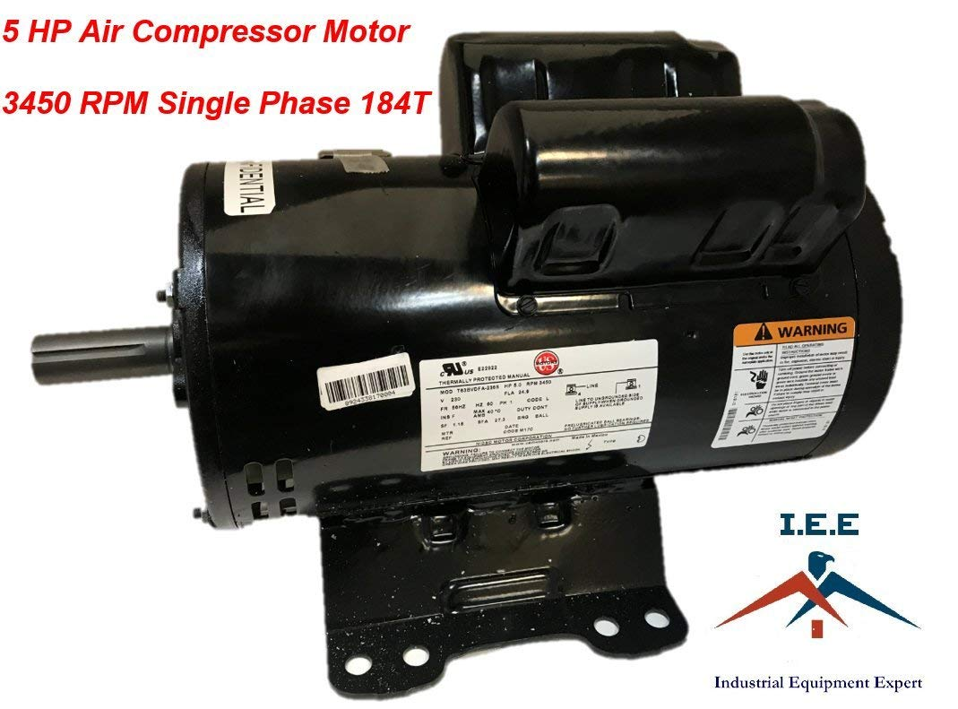 56283138 23378805 IR Replacement Air Compressor Motor, Single Phase, 184T Frame, Open Drip Proof Enclosure, 5Hp Output, 3450rpm, 60Hz, 208-230V Voltage, 24.9 Amps