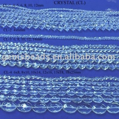 "Clear Quartz faceted beads in 16""per strand"