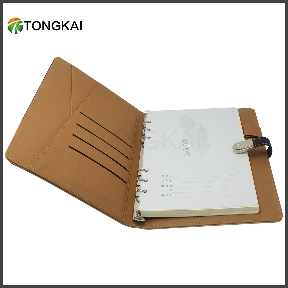 A5 metal ring binder PU leather notebook organizer planner with usb flash drive for pad