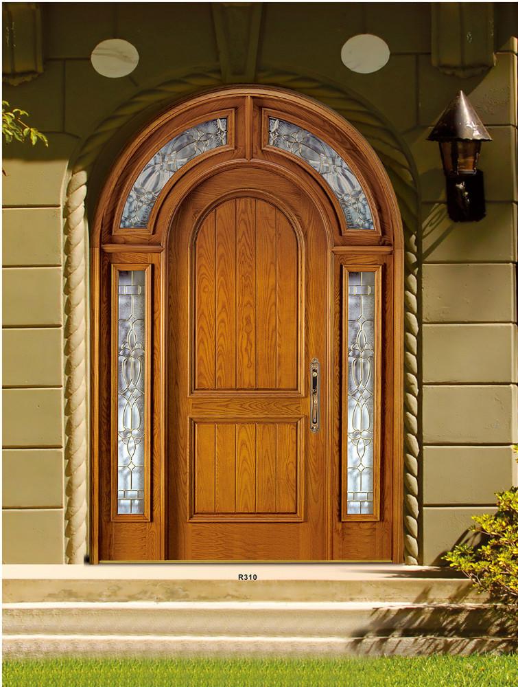 Americana de caoba arco doble puerta de entrada puertas - Arcos decorativos para puertas ...