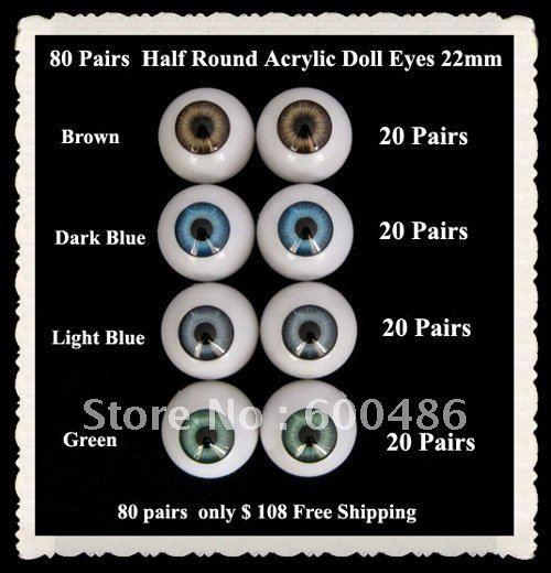 22mm pair Dark Blue Half Doll Eyes Round Acrylic