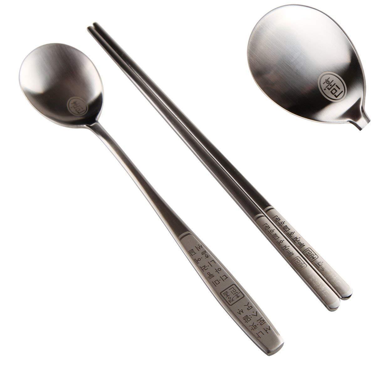 9a6a9c9fd Get Quotations · 2 Sets of Stainless Steel Hangul Korean Alphabet Spoon  Chopsticks 18/10 Thick