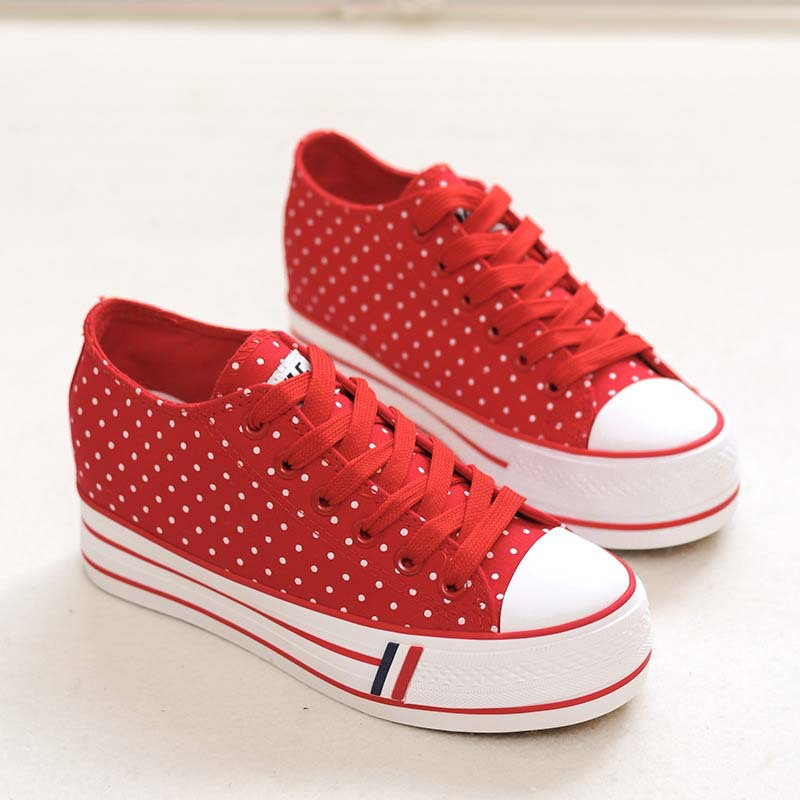 Good Condition. 100% True Hotter Ladies Polka Dot Canvas Lace Up Pumps Size 6 Clothing, Shoes & Accessories