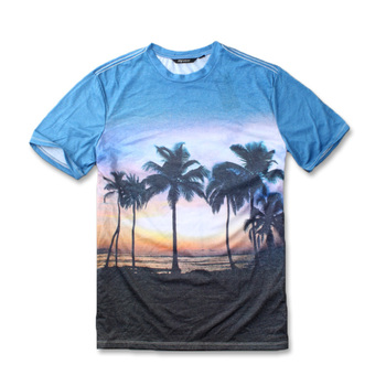 76242ff5 summer new men's beach Hawaii seaside style coconut stamp digital printing  round neck T-shirt