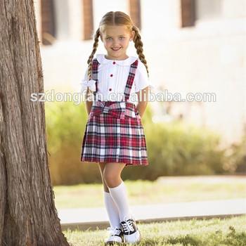 9b9cc1c44 Dulce niña camiseta blanca + falda a cuadros rojo uniforme escolar clásico  diseño