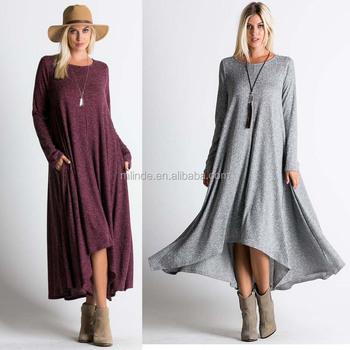 d0e4570505 Heather Knit Ribbed Scoop Neck Hi Low Drape Maxi LONG DRESS Latest Western  Bohemian Dress Patterns